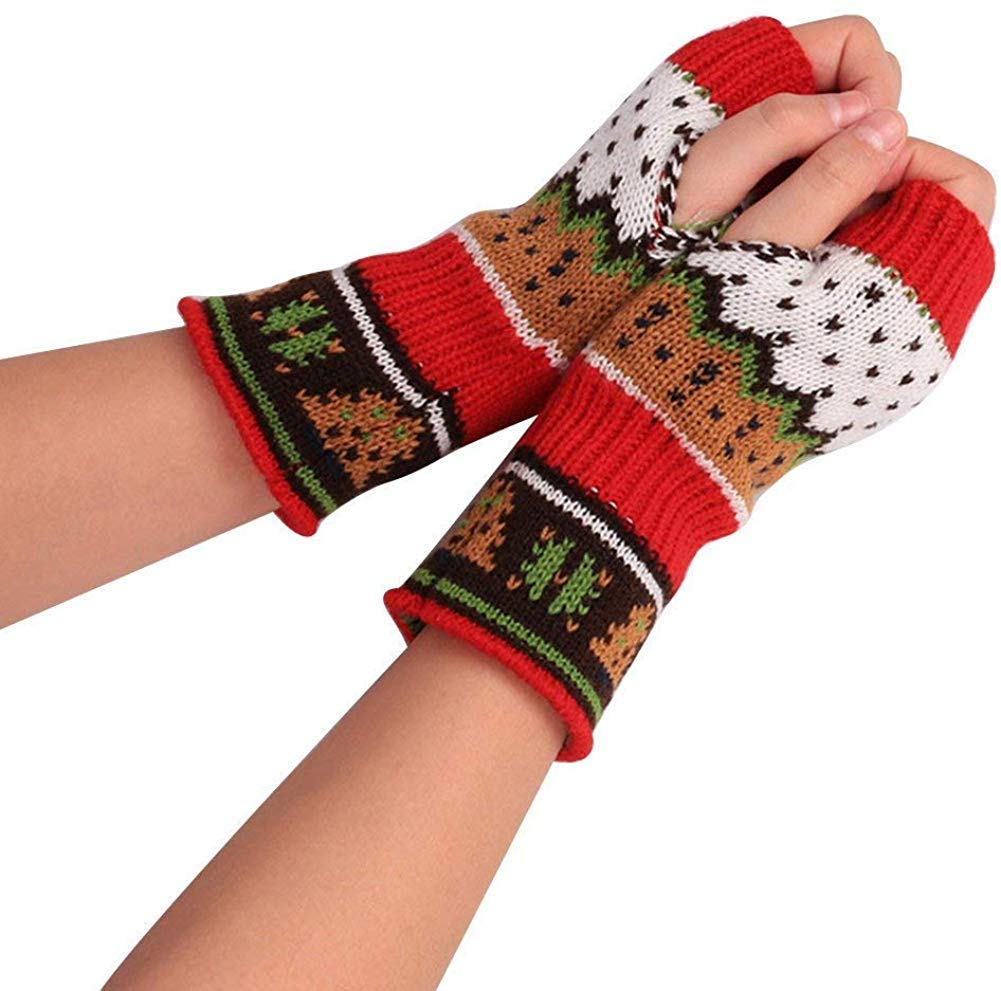 XY Ladies Gloves Fingerless Fashion Winter Warm Knitted Classic Mittens Printed Patterned Outdoor Mittens Clothes,Rot,One Size