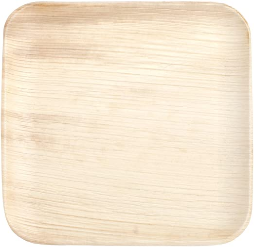 Pack of 25 100/% Eco-Friendly and bio degradable Perfect for Barbecues and Birthday Parties Disposable and compostable 24cm//10inch Square Palm Leaf Plates
