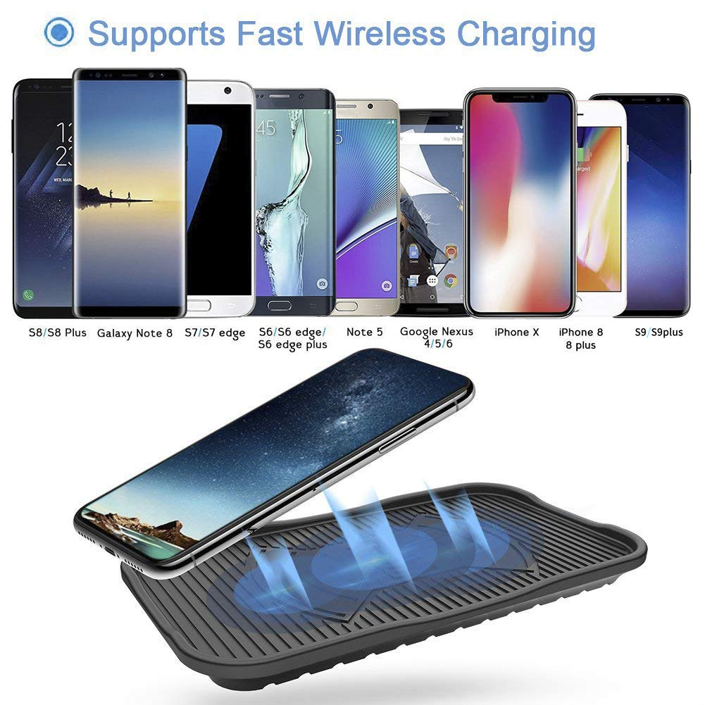 Szlinkage Silicone Wireless Charger 10W Fast Wireless Charging Pad foriPhone X, iPhone 8/8 Plus,Samsung Galaxy S9/S9Plus S8/S8 Plus,S7/S7 Edge,Note 8/Note 5 and All QI-Enabled Devices