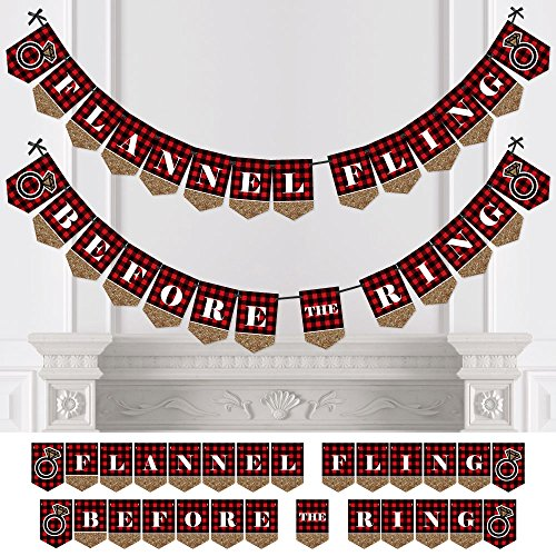 Big Dot of Happiness Flannel Fling Before The Ring - Buffalo Plaid Bachelorette Party Bunting Banner - Bachelorette Party Decorations