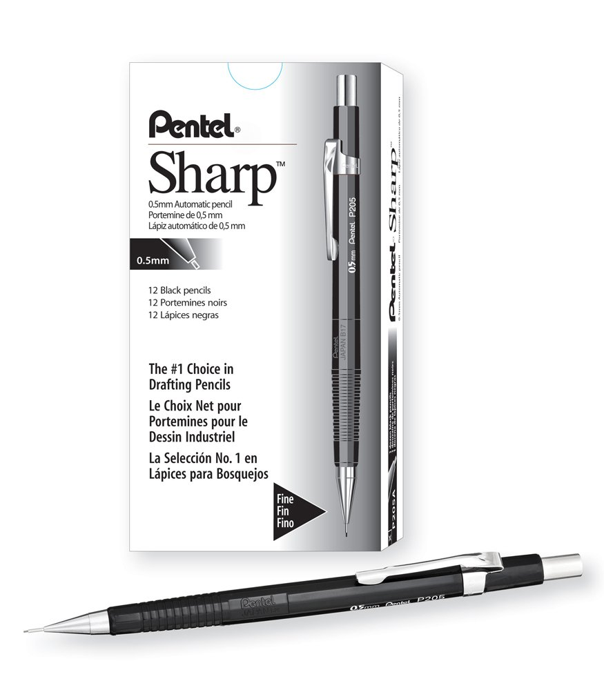 Pentel Sharp Automatic Pencil, 0.5mm Lead Size, Black Barrel, Box of 12 (P205A)