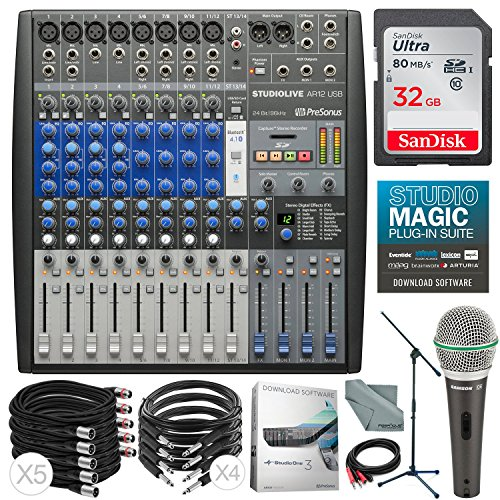 PreSonus StudioLive AR12 USB 14-Channel Hybrid Performance and Recording Mixer & Deluxe Accessory Bundle w/ Samson Q6 Mic + Mic Boom Stand + Xpix Pro Cables + More by Photo Savings