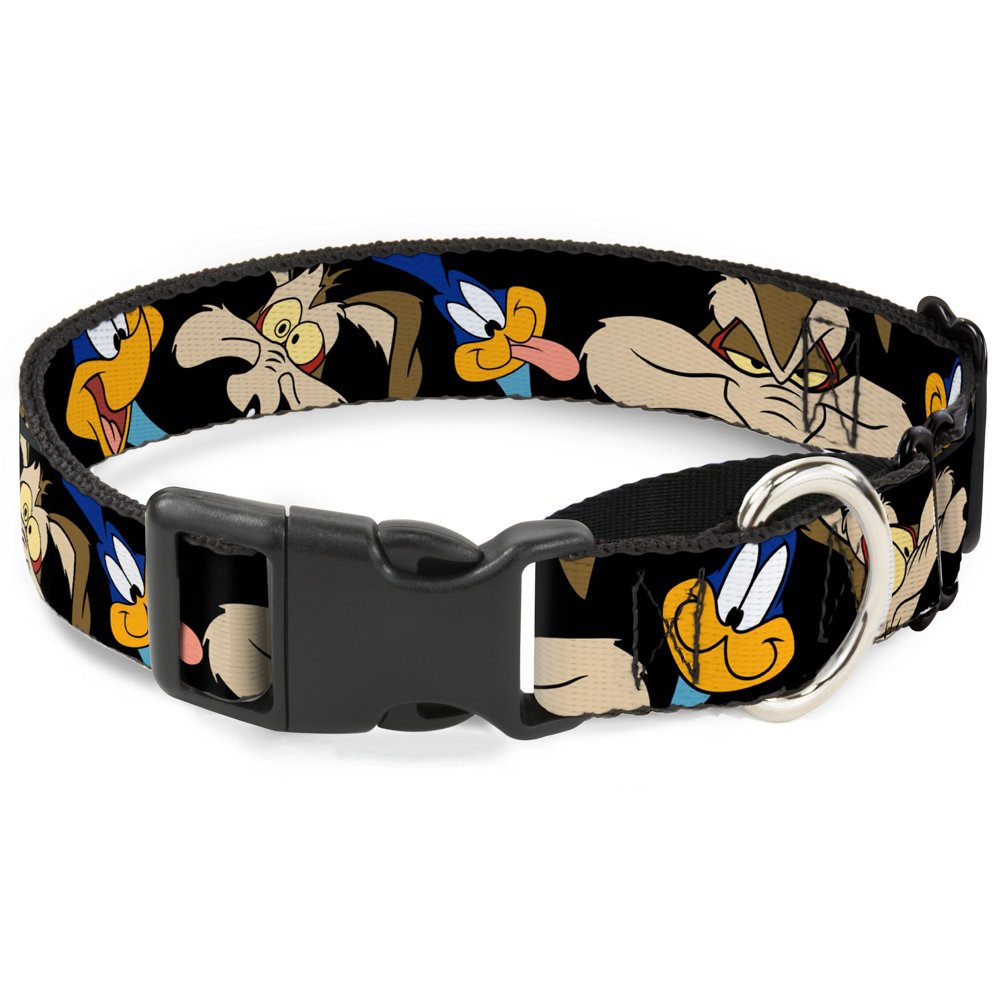 Dog Collar Martingale Road Runner Wile E Coyote Expressions Close Up Black 16 to 23 Inches 1.5 Inch Wide