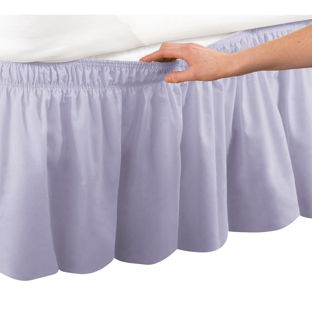 White Collections Etc Wrap Around Bed Skirt Easy Fit Elastic Dust Ruffle Queen//King
