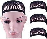 Dreamlover Crochet Wig Caps, Black Mesh Wig Caps for Wigs, 3