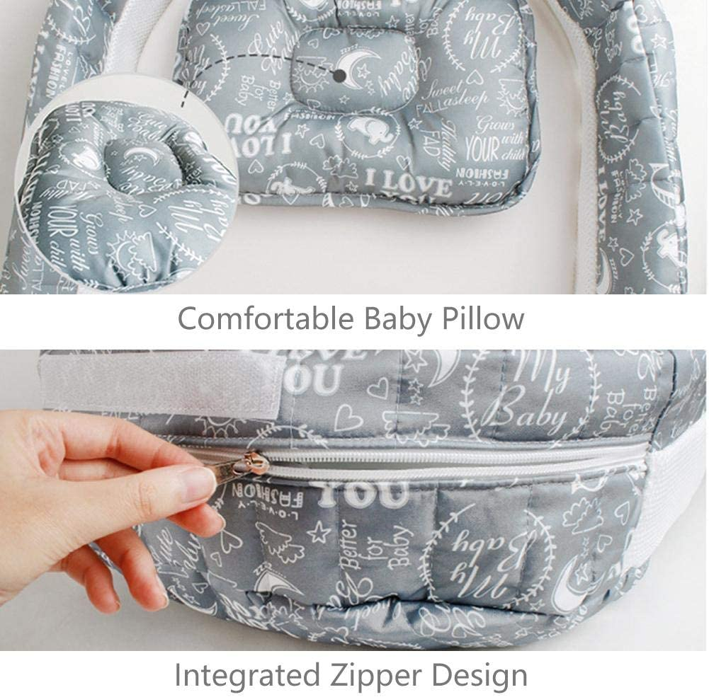 Partial Crib with Sound /& Light Unit Multi-Purpose Cotton Breathable /& Hypoallergenic Foldable Cot Crib Portable Travel Bed