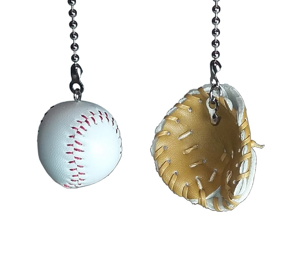 Deluxe Baseball Bat /& Glove Fan Pull Set by Wooden Androyd Studio All 3 on 2 chains