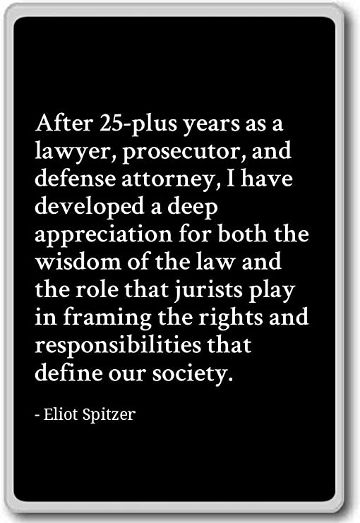 Amazon Com After 25 Plus Years As A Lawyer Prosecutor Eliot Spitzer Quotes Fridge Magnet Black Kitchen Dining