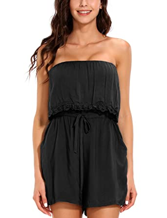 d13d14f47a8 ISASSY Women s Ladies Summer Holiday Beach Jumpsuit Playsuit Shorts Lace Off  Shoulder Black M(UK8