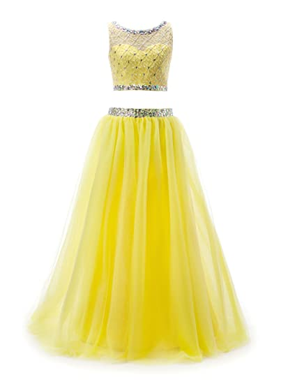 BoHoSpecial Two Piece Prom Dresses Long Beaded Crystal Homecoming Dresses Prom Gowns