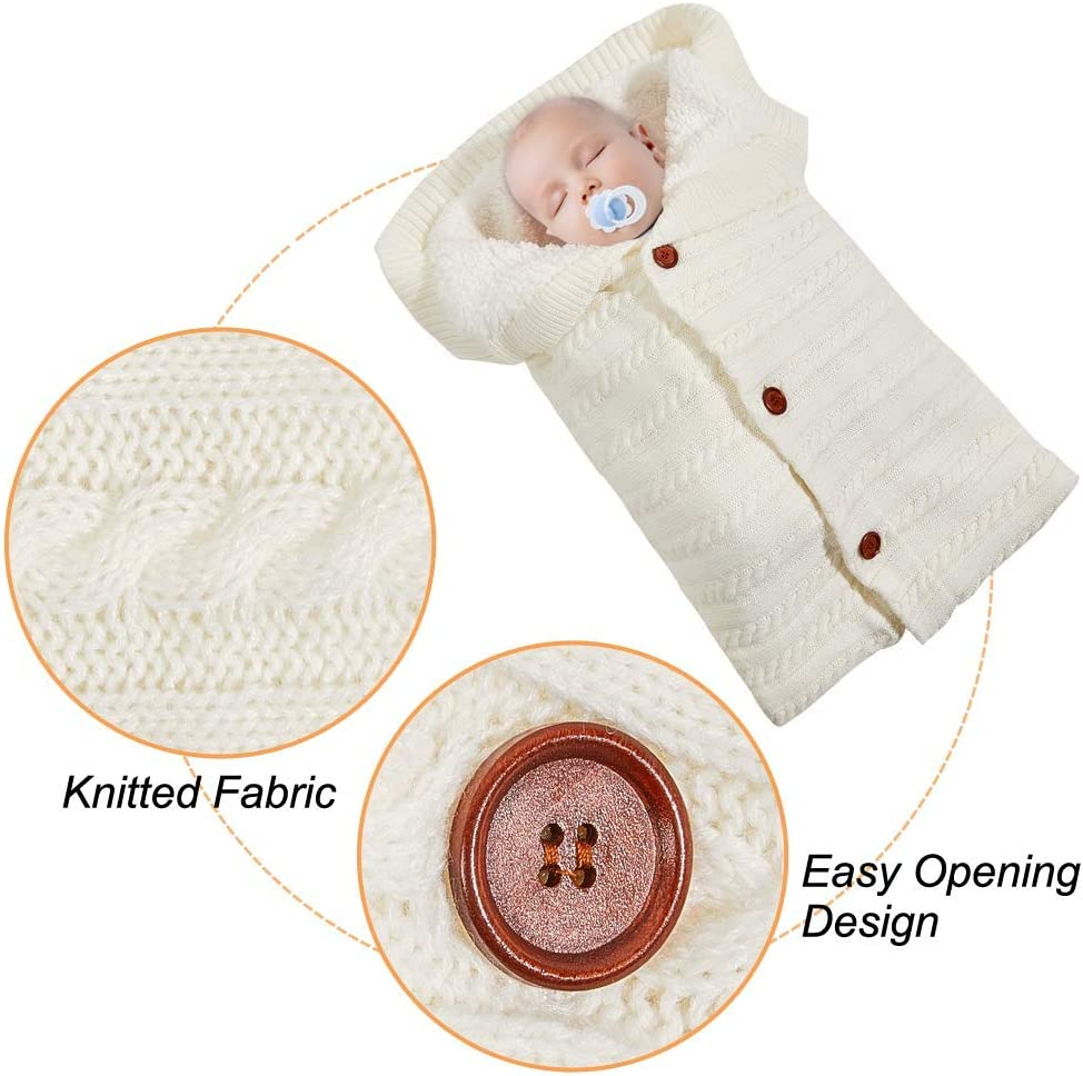 White Paisdola Couverture /à langer et chapeau Set de couchage pour b/éb/é avec enveloppe de poussette en molleton