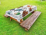Lunarable Moose Outdoor Tablecloth, an Assortment of Cute Animals Fox Elk Badger Raccoon Owl Hedgehog and Bunny Happy, Decorative Washable Picnic Table Cloth, 58 X 104 inches, Multicolor