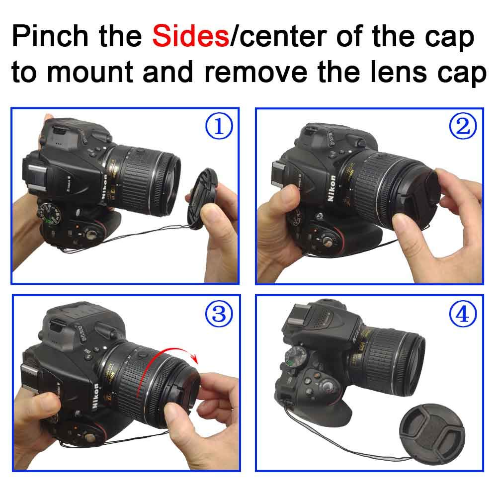 Center Pinch Lens Cap with Strap for AF-S 24-70mm f//2.8G AF-S 28-300mm f//3.5-5.6G Lens,18-300mm f//3.5-5.6G for Nikon D700 D800 D750 D600 D300 D7000 D90 D3 Camera,ULBTER Snap-on Lens Cap Cover 2 Pack