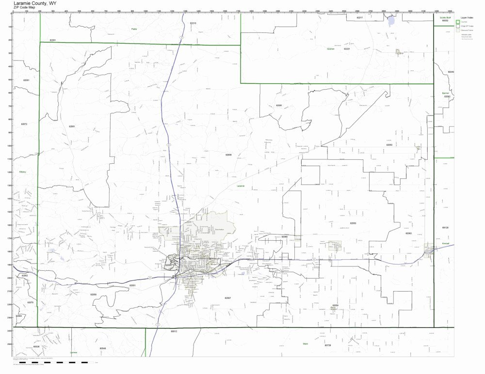 Laramie Zip Code Map.Amazon Com Laramie County Wyoming Wy Zip Code Map Not Laminated