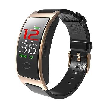 UKCOCO CK11C - Pulsera Inteligente con Bluetooth 4.0, tensiómetro IP67, Resistente al Agua, Pantalla LCD táctil Color Dorado, podómetro: Amazon.es: Hogar