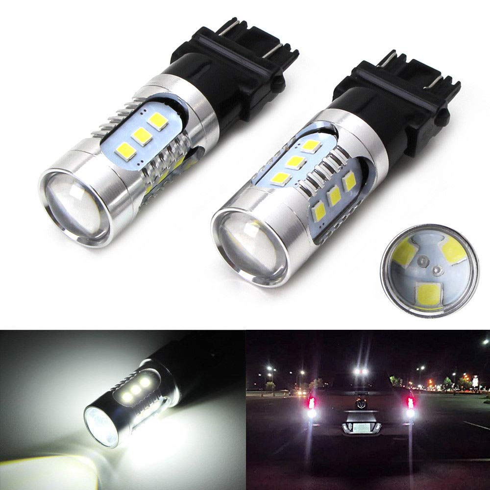 iJDMTOY (2) 360° High Power 15-SMD 3156 3056 3157 T25 LED Bulbs For Car Backup Reverse Lights, Xenon White iJDMTOY Auto Accessories Convert Incandescent Reverse to LED Bulb
