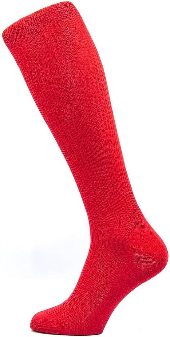 Pantherella Naish RIB sopra il polpaccio Calzini di lana merino-Indie Rosso
