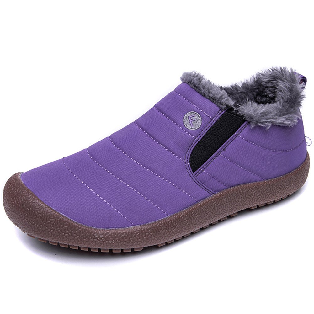 WateLves Mens Womens Snow Boots Winter Anti-Slip Ankle Booties Outdoor Slippers Slip On with Warm Fully Fur Lined (Low Top-Purple, 37)