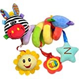 FITYLE Baby Kids Pram Stroller Bed Around Spiral Hanging Activity Soft Plush Toys - Red Mouth Deer