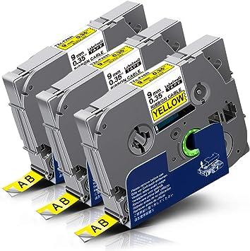 Schriftbandkassette flexibel 6mm schwarz auf gelb für Brother P-Touch 1250 1280