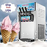 Ice Cream Maker, Denshine Ice Cream Machine Commercial Desktop Soft Ice Cream Making Machine 18L/Hour 3 Flavors Ice Cream Machine (Gray)