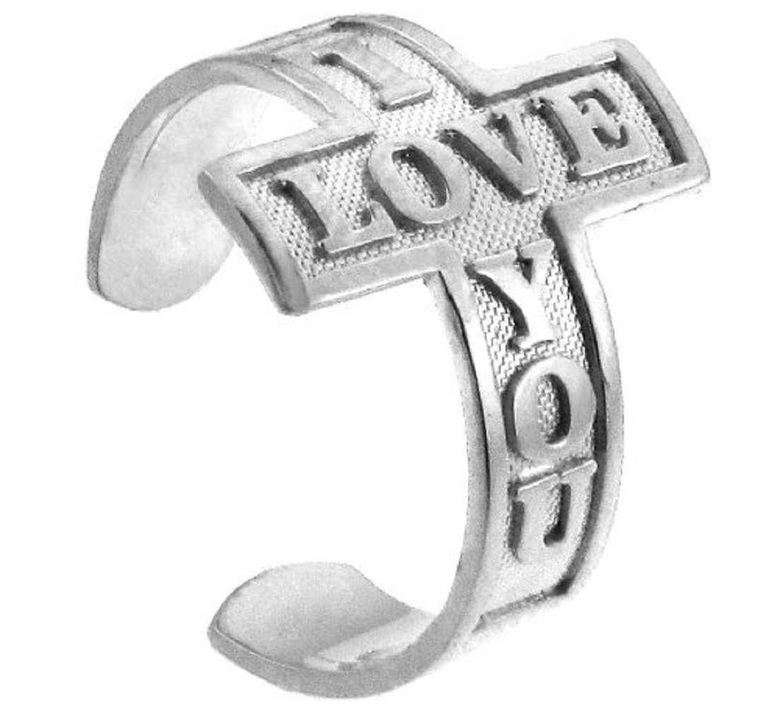 14k White Gold ''I LOVE YOU'' Sideways Cross Toe Ring