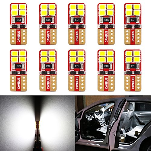Phinlion Super Bright 2835 8-SMD LED Bulbs for Car Interior Dome Map Door Courtesy License Plate Lights Wedge T10 168 194 2825 6000K Xenon White (10 Pack)
