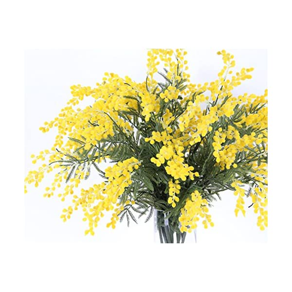 Htmeing 4pcs Mimosa Artificial Silk Flowers Fake Plants Branches Spray Pudica Acacia Bouquet Home Wedding Fall Decoration (Yellow)