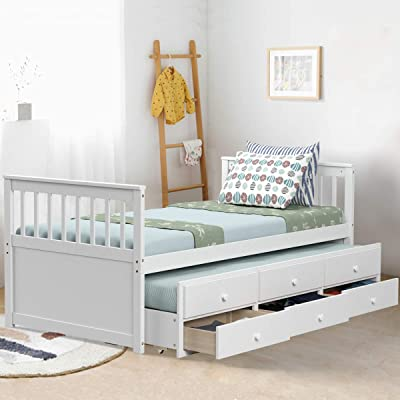 Giantex Twin Captain's Bed with Trundle Bed, Wood Storage Daybed with 3 Storage Drawers, Bunk Bed Alternative, No Box Spring Needed, Wooden Platform Bed Great for Kids Guests Sleepovers (White): Kitchen & Dining