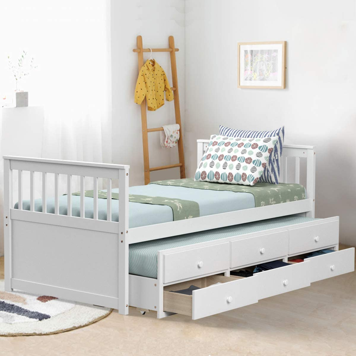 - Amazon.com: Giantex Twin Captain's Bed With Trundle Bed, Wood