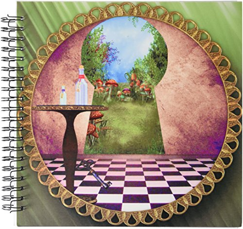 3dRose db_128860_2 Through The Keyholes Alice in Wonderland Art Checkered Floor Bottle of Magic Water Memory Book, 12 by 12-Inch ()