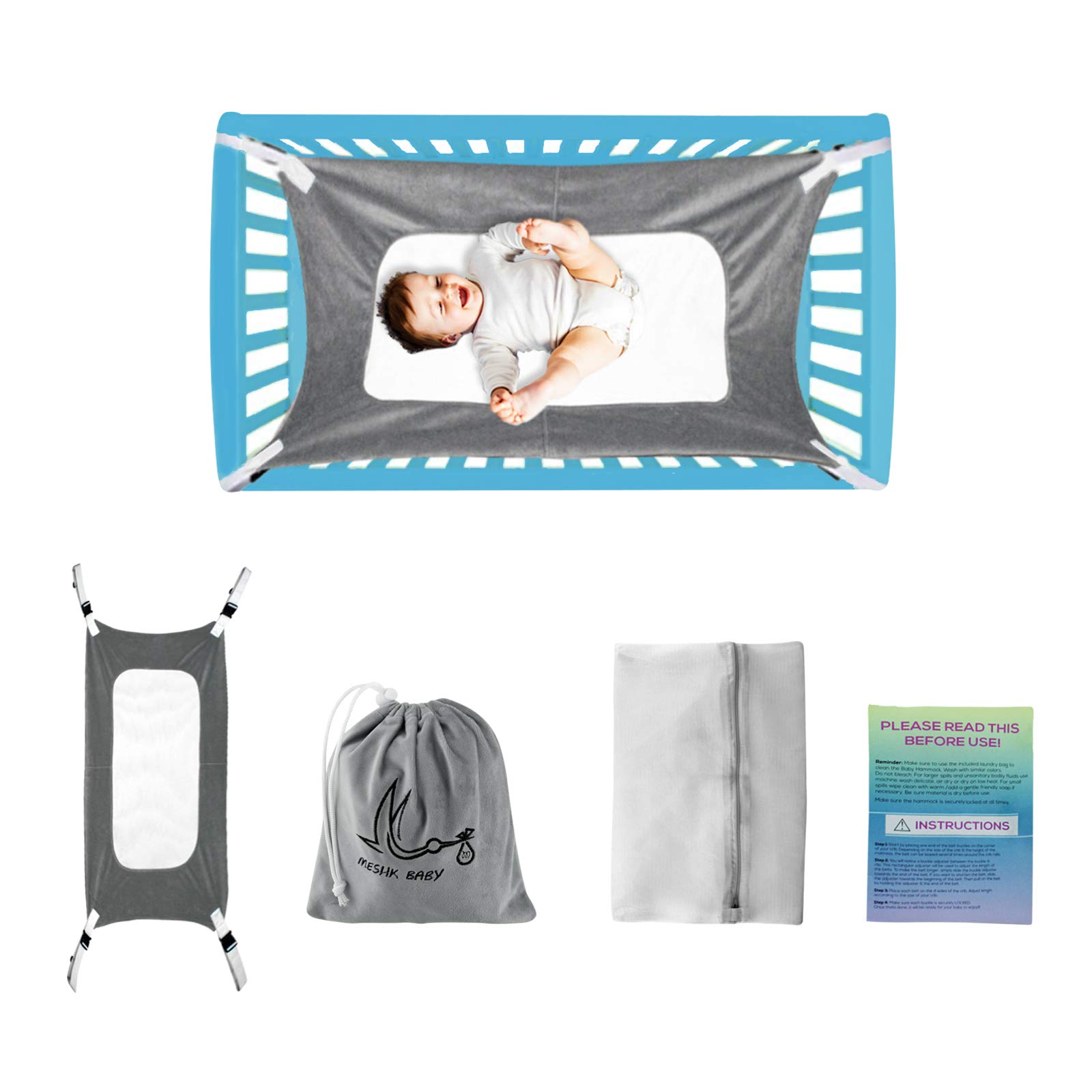 Baby Hammock for Crib,Newborn Bassinet,Mimics Womb,Enhanced Material,Infant Travel Bed, Crescent Womb Infant Safety Bed, Baby Shower Gift, (Bonus Gift&Washing Bag)