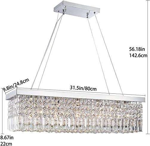 CRYSTOP Rectangle Crystal Chandeliers Dining Room Modern Ceiling Light Fixtures Hanging Chandelier Pendant Light Living Room Beautiful Fixture Polished Chrome Finish L31.5 x W9.8 x H8.9
