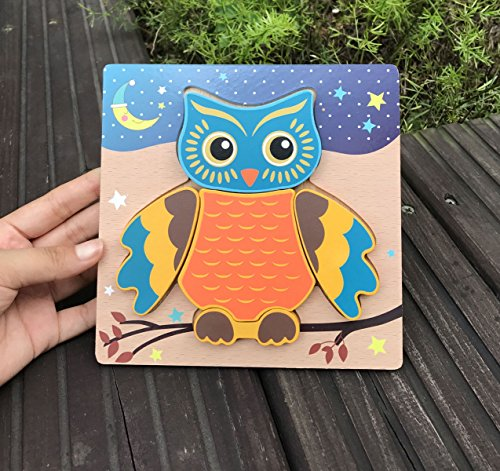 Children/'s Toy Wood Owls Shaped Wooden Peg Puzzle Toy for Kids Toddlers W