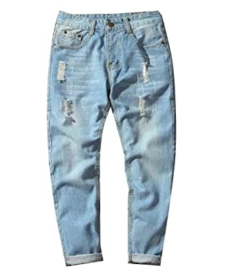 c48c29d6c4d7 FreelyMen Freely Mens Broken Hole Stretch Straight Pockets Relaxed-Fit Jean  1 26