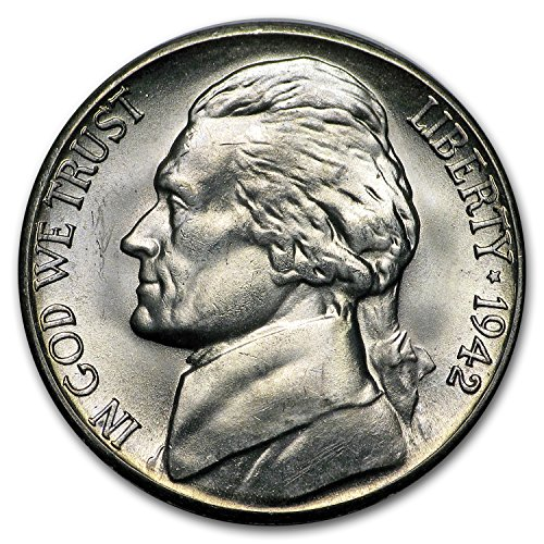 1942 S Silver Jefferson Nickel BU Nickel Brilliant - Nickel Mintage Jefferson