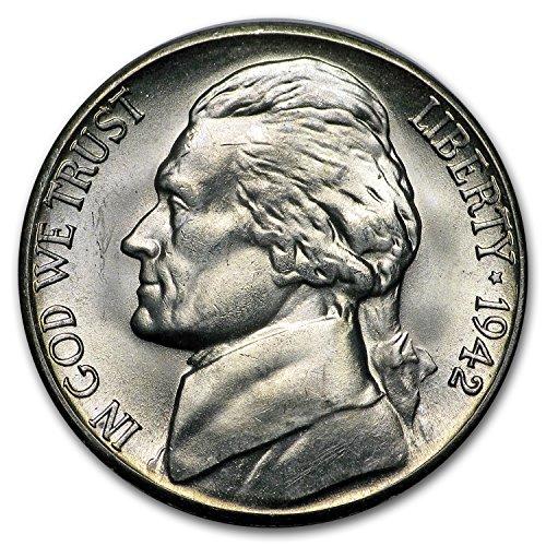 1942 S Silver Jefferson Nickel BU Nickel Brilliant - Mintage Jefferson Nickel
