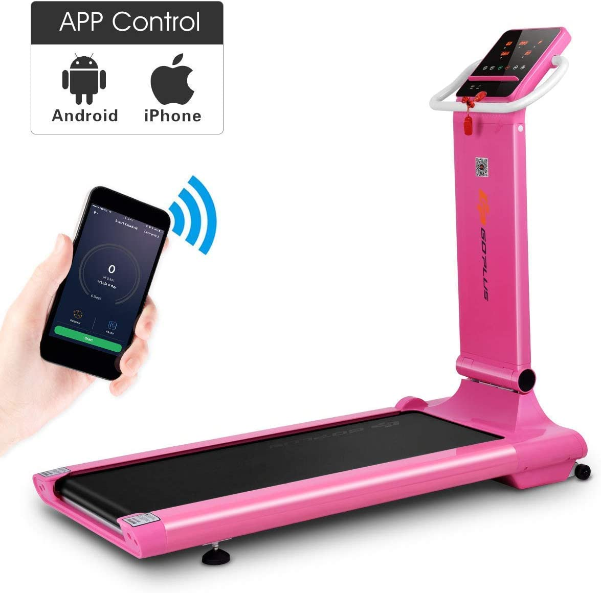Goplus Electric Folding Treadmill, Free-Install Design, with APP Control and Touch Screen