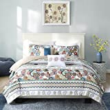 N-A 4 Piece Multi Color Paisley Coverlet Twin/Twin XL Set, Floral Damask Flower Stripe Pattern Theme Bedding Modern Shabby Chic French Country Flowers Motif Medallion Print Quilted Texture, Polyester