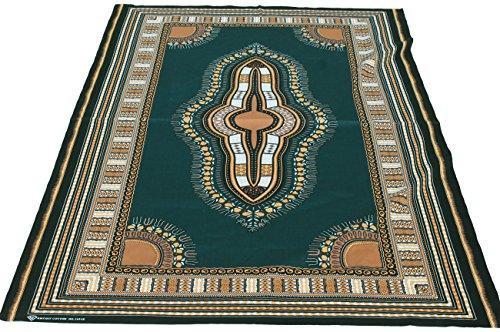 RaanPahMuang African Dashiki Colour Cotton Fabric Suitable for 1 Shirt Design, Green Brown