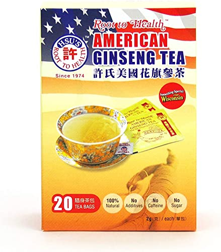Hsu s Ginseng SKU 1036 American Ginseng Tea, Economy 20ct Cultivated Wisconsin American Ginseng Direct from Hsu s Ginseng Gardens 20ct Economy Box, , B000638OVI