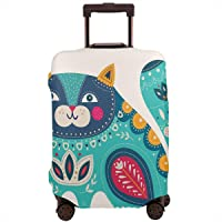Travel Luggage Cover,Cute Chubby Smiling Cat With Colorful Paisley Motif Ethnic Tribal Style Figures Art Suitcase Protector