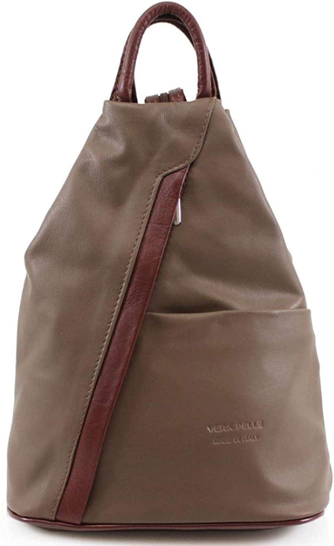 PJA - Bolso mochila  para mujer gris/marrón. Caqui/Marrón.
