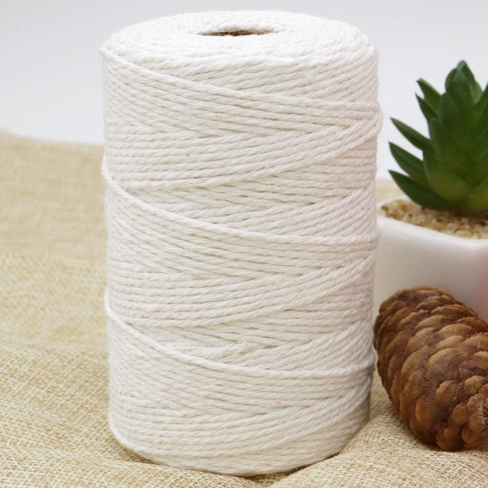 KINGLAKE Corde en Coton Noir de 2 mm de Corde de Jardin pour Bricolage Emballage Cadeau d/écoration Blanc