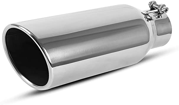 Autosaver88 2.0-2.5 Inch Inlet Exhaust Tip 9 Inch Length Blue Burnt Chrome-Plated Finish Stainless Steel Material 4 Inch Outlet Bolt-On Installation Design 2.0-2.5 Inch Inlet