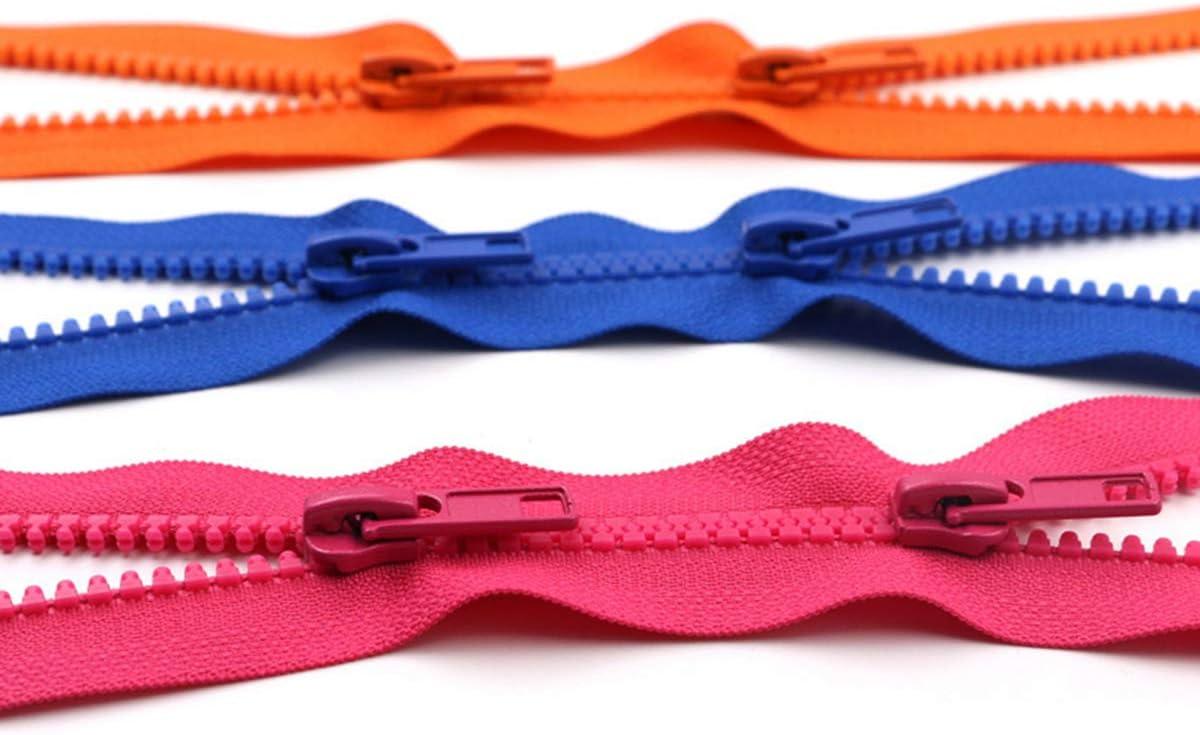Scherry 2 Pezzi 5# Doppio Opend Fine Zip Resina Cerniere 50//200 Centimetri Down Jacket//Soprabito Zip Craft Accessori di Cucito Colore 1,50 cm