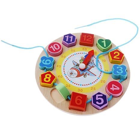 D Dolity Juguete Educativo de Niños, Reloj de Madera Digital Cordones Cadena - Juego de
