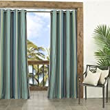 gazebo curtains amazon Parasol Windley Key Stripe Indoor/Outdoor Curtain Panel, 52 by 84-Inch, Indigo