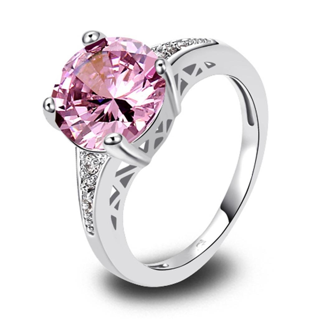 LingMei Eternity Style Round Cut Silver Plated Ring with Pink Shinning Cubic Zirconia Crystal for Her