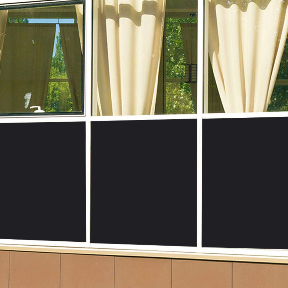 Coavas Privacy Window Film, Non Adhesive Static Cling Vinly Window Film Both Suitable for Home and Office (Black, 17.7 by 78.7 Inch) by Coavas (Image #4)